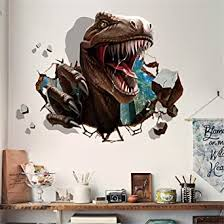 Ml 3d Dinosaur Wall Sticker For Bedroom Boy Self Adhesive Removable Break Through The Wall Vinyl Sticker Mural Art Decals Decor Amazon Com Industrial Scientific