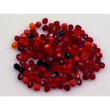 fire polished glass bead 4 mm mix red