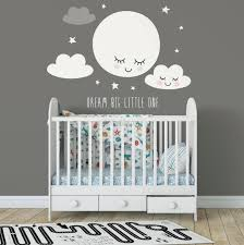 White Cute Fullmoon With Clouds Wall Decal Sticker Wall Decals Wallmur