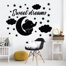Elephant Wall Decals Quotes Sweet Dreams Moon And Star Cloud Wall Stickers For Baby Room Nursery Decoration Vinyl Mural X082 Wall Stickers Aliexpress