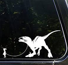 Amazon Com Pet Dinosaur Velociraptor W Girl Car Truck Atv Vinyl Decal Sticker Yydc 7 W X 3 5 H Girl Face Left White Arts Crafts Sewing