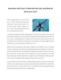 How Much Will It Cost To Make My Pool Safe And What Do Isr Lessons C