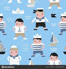 seamless pattern with sailor boy