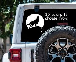 Wolf Howling Car Decal Wolf Howling Moon Decal Wolf Decal Wolf Etsy
