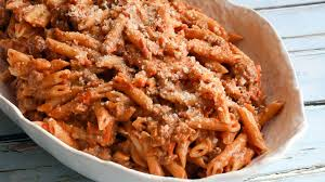 penne pasta with creamy tomato and meat