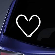 Amazon Com Bargain Max Decals Fishing Hook Heart Love Sticker Decal Notebook Car Laptop 6 White Automotive