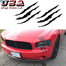 Black Scratch Monster Claw Sport Vinyl Decal Sticker Headlight Decor For Dodge Ebay