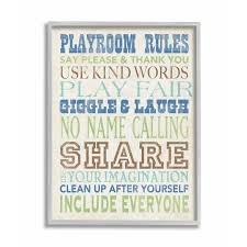 Shop The Kids Room By Stupell Playroom Rules Typography In Blues Green And Brown Grey Framed 11 X 14 Proudly Made In Usa 11 X 14 Overstock 30334741