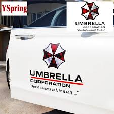 Amazon Com Yspring 19 7 19 7in Resident Evil Car Front Cover Decal Umbrella Corporation Logo Sticker Auto Body Vinyl Sticker For Vehicles Style K Black Fonts 1pcs Arts Crafts Sewing