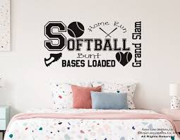 Softball Wall Decal For Girls Room B33 Teen Girl Bedroom Teen Etsy