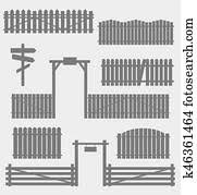 Set Of Black Fences With Gate Clipart K20659770 Fotosearch
