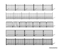 Various Simple Metal Wrought Iron Or Steel Fence Silhouettes With Shadows Horizontally Seamless Modular Metal Fencing Design Elements Vector Pattern Brushes With Ending Tiles Included Buy This Stock Vector And Explore