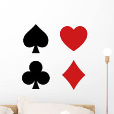 Amazon Com Wallmonkeys Playing Card Spade Heart Wall Decal Sticker Set Individual Peel And Stick Graphics On A 18 In H X 18 In W Sticker Sheet Wm363141 Furniture Decor