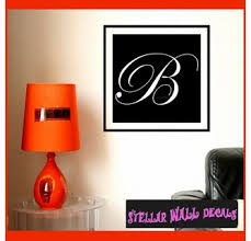 Solid Square Border Cursive Letter B Monogram Letters Vinyl Wall Decal Sticker Mural Quotes Words Mg005b Swd