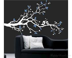 Plum Blossom Branch Wall Decal With Loving Birds Nursery Vinyl Tree Stickers