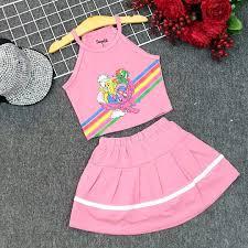 Bộ áo yếm váy quần thun cotton Pony dễ thương size đại bé gái