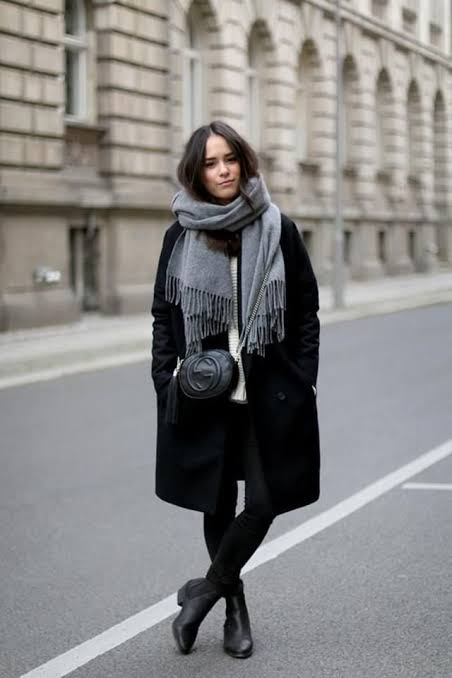 Black coat and scarf