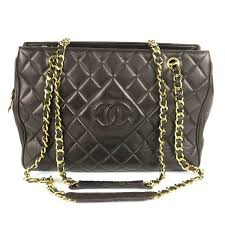 shoulder tote bag brown quilted leather