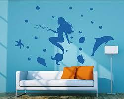 Amazon Com Stickersforlife Ik73 Wall Decal Sticker Room Decor Art Mural Mermaid Dolphin Child Bedroom Home Kitchen