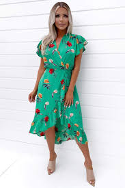 ABIGAIL Green Floral Printed Frill Midi Dress | Ruby Woo Boutique