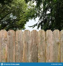 Privacy And Security Provided By A Rustic Wood Backyard Fence With Green Shade Trees Background Stock Photo Image Of Residential Backyard 155816408