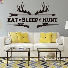 Eat Sleep Hunt Quote Wall Sticker Living Room Rifles Racks Deer Bow Hunting Wall Decal Bedroom Kids Room Vinyl Home Decor Art Wall Stickers Aliexpress