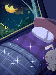 good night world cute cartoon bedroom