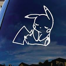 Pikachu Cartoon Character Sleeping Car Window Vinyl Decal Sticker