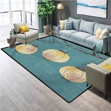 Amazon Com Lantern Kids Rugs For Playroom Three Paper Lanterns Hanging On Branches Lighting Fixture Source Lamp Boho Desk Mat For Carpet Teal Pale Yellow 6 X 8 8 Ft Kitchen Dining