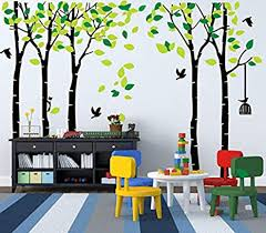 Amazon Com Mafent Giant Family Tree Wall Decals Forest Birch Tree Wall Stickers Birds Wall Art For Kids Room Nursery Bedroom Living Room Black Green Kitchen Dining