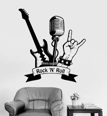 Art Wall Decal Quote Rock N Roll Guitar Microphone Musical Stickers Murals Wall Stickers For Boy S Rooms Interior Ornament La468 Wall Sticker Stickers Forstickers For Boys Aliexpress