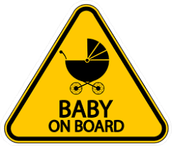 Yellow Baby On Board Sign Sticker With Stroller