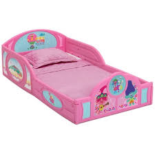Toddler Trolls World Tour Plastic Sleep And Play Bed With Attached Guardrails Delta Children Target