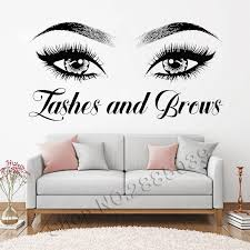 Lash And Brows Eyes Quote Wall Decal Fashion Creative Vinyl Eyelashes Beauty Salon Wall Sticker Eyebrow Store Decor Poster Ll302 Wall Stickers Aliexpress