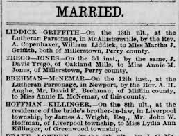 Lydia Killinger marriage to John Wesley Hoffman Perry County, Penna. 18 Dec  1872 - Newspapers.com