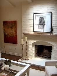 white brick fireplace transitional