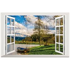 Outside The Fake Window Lakeside Landscape Small Boat 3d Vinyl Wall Art Mural Stickers Home Decoration Scenery Wallpaper 60 40cm Buy At The Price Of 4 79 In Aliexpress Com Imall Com