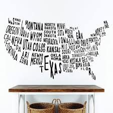 Amazon Com Wallency Usa Doodled Map Wall Decal With State Names Removable Vinyl Sticker Handmade