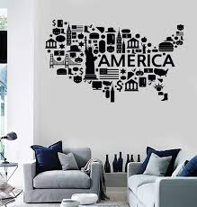 Wall Stickers Vinyl Decal Usa Map Famous Places America Coolest Decor Wallstickers4you