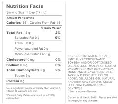 coffee mate nutrition label labels