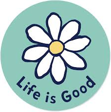 Amazon Com Life Is Good Circle Sticker Daisy Teal Sports Outdoors