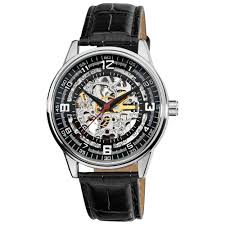men s automatic skeleton dial leather