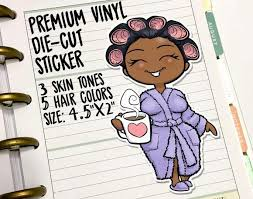 Lazy Day Morning Coffee Girl Vinyl Die Cut Decal Miss Moss Gifts