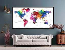 Large Watercolor Map World Push Pin Travel Cities Wall Black White G Fine Art Center