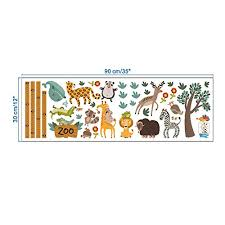 Diy Zoo Vinyl Growth Chart Ruler Decal Height Measure Wall Stickers Kids Room Decor Baby B073pzbd34
