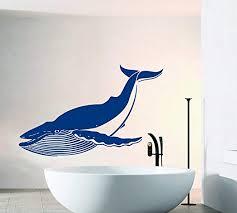 Amazon Com Ditooms Wall Decals Big Whale Decal Sea Ocean Animals Bathroom Interior Design Home Vinyl Sticker Murals Wall Decals Kitchen Dining