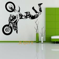 Motocross Jump Silhouette Wall Decal Decor Stickers Vinyl Room Ktm Yamaha
