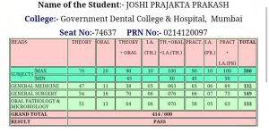 Prajakta Joshi Govt dental college mumbai topper - imedscholar