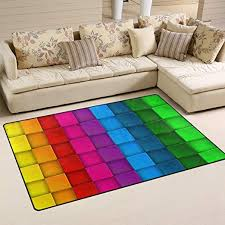 Amazon Com Deyya Colorful Neon Contrast Rainbow Polyester Area Rugs Non Slip Living Room Carpet Bedroom Rug For Children Play Solid Home Decorator Floor Rug And Carpets 60 X 39 Inch Home Kitchen
