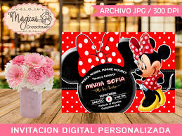 Invitacion Digital Cumpleanos Ninas Minnie Mouse Roja 80 00 En